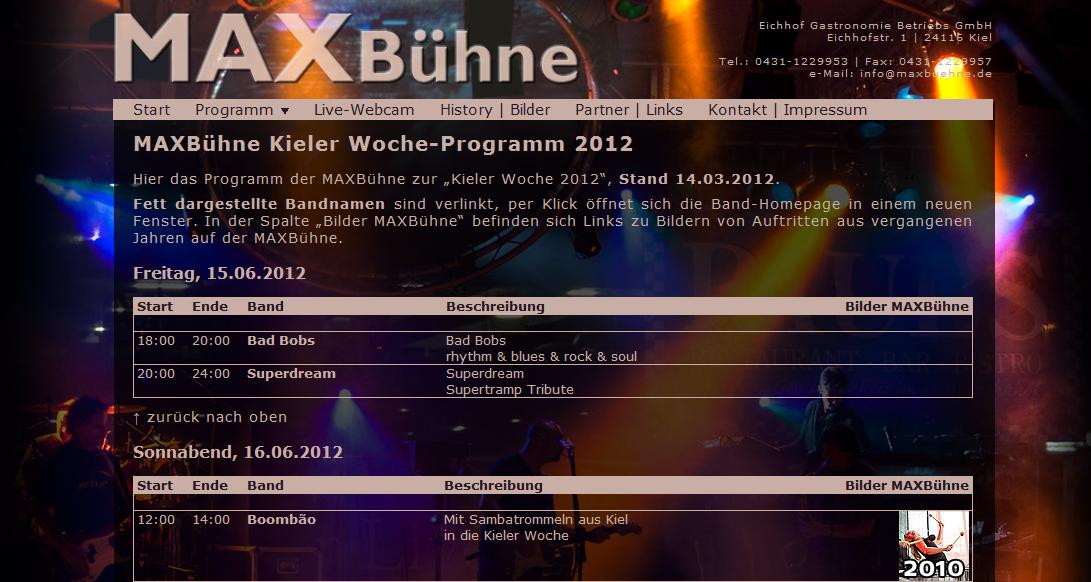 Kieler Woche 2012: Programm der MAX Bühne veröffentlicht